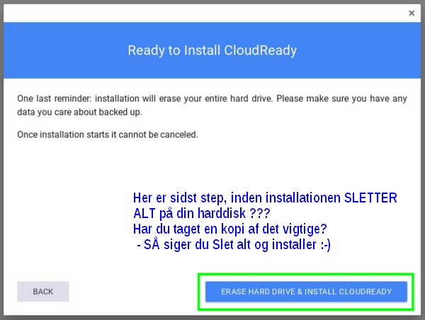 cloudready installation overskriv alt