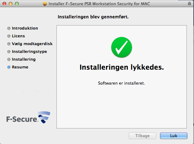 F-Secure Antivirus til MAC computere